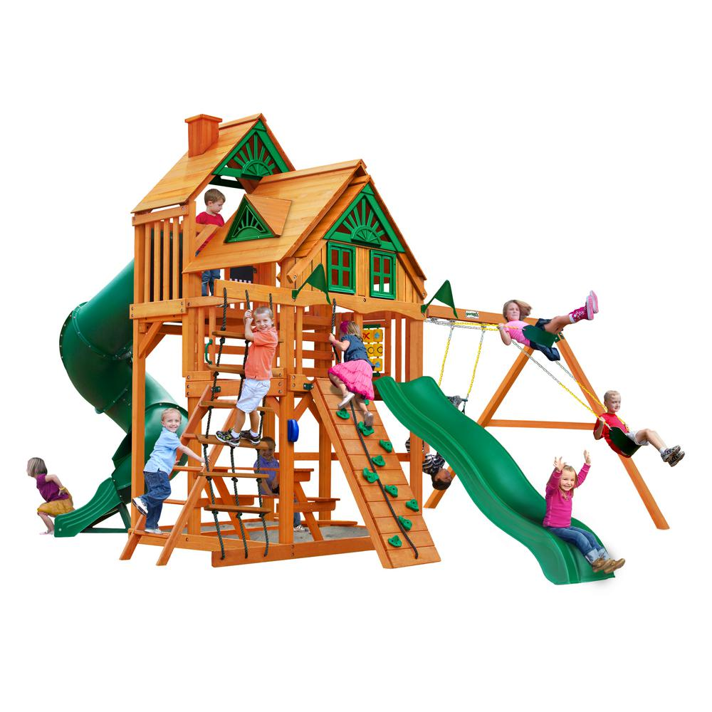 Gorilla Playsets Great Skye I Treehouse Wooden Swing Set with 2 Slides and Rock Wall