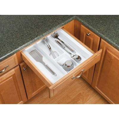 2.38 in. H x 17.5 in. W x 21.25 in. D Large Glossy White Cutlery Tray Drawer Insert