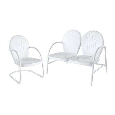 Griffith 2-Piece Metal Outdoor Conversation Seating Set - Loveseat and-Chair in White