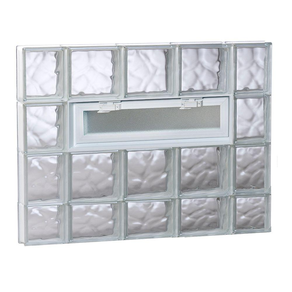 Clearly Secure 34.75 in. x 29 in. x 3.125 in. Frameless Wave Pattern ...
