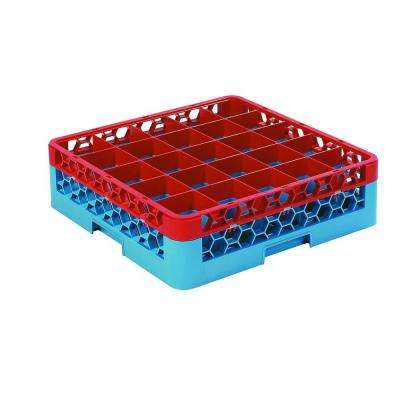 19.75 x 19.75 in. 25-Compartment 1 Red Extender Glass Rack (for Glass 3.25 in. Dia., 4.75 in. H) in Blue/Red (Case-4 )