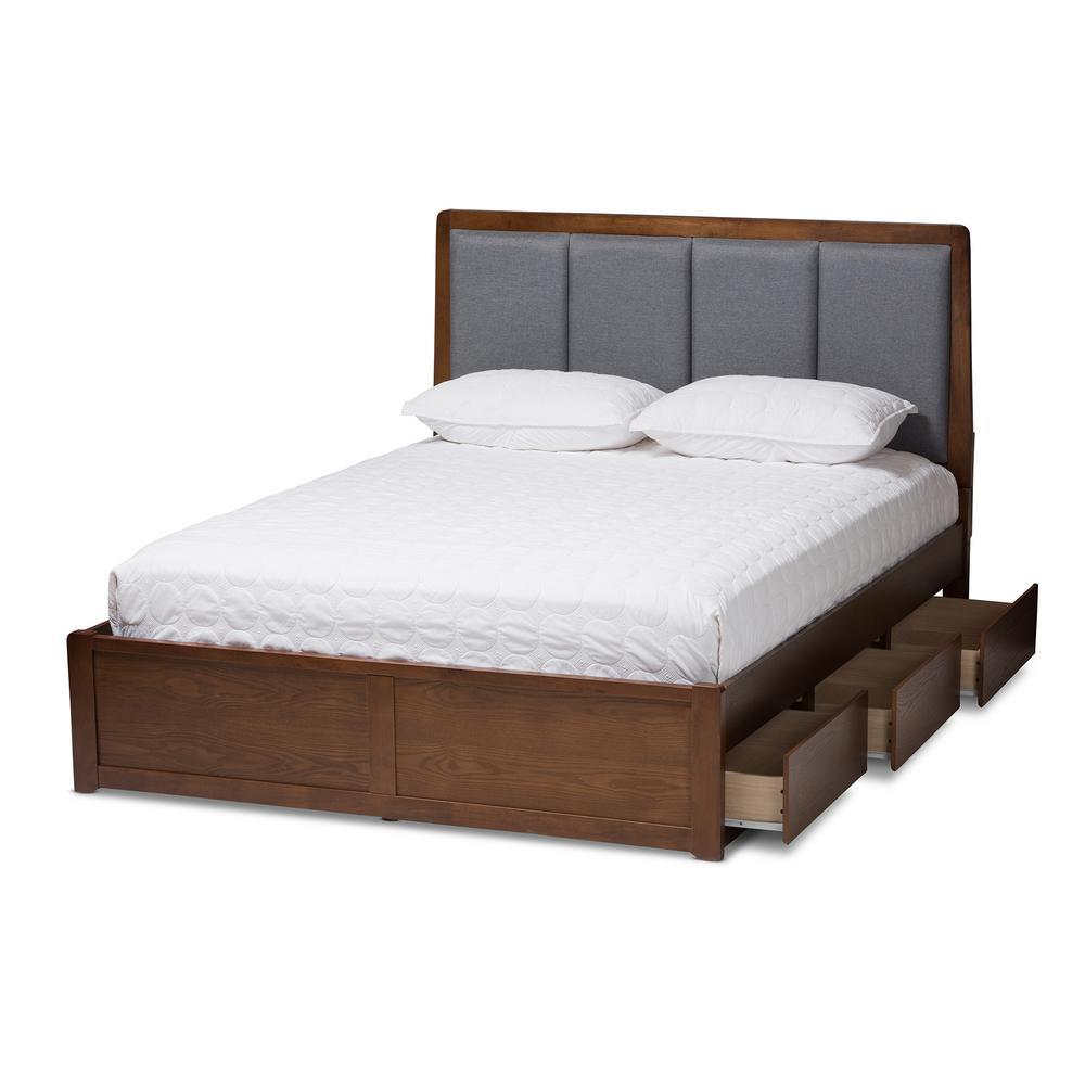 Brannigan Gray/Walnut Brown King Platform Bed