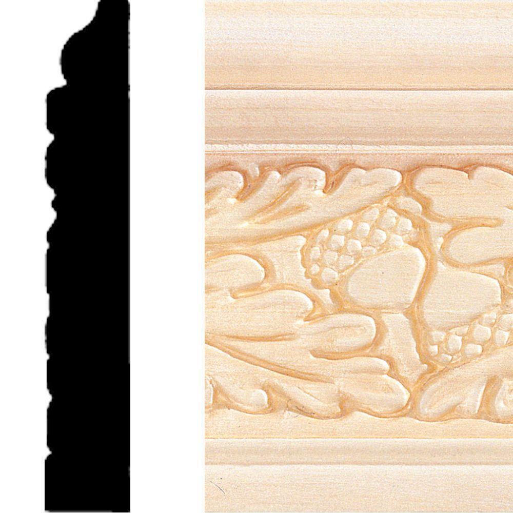 House of Fara 1/2 in. x 3 in. x 8 ft. Hardwood Embossed Leaf Base Moulding