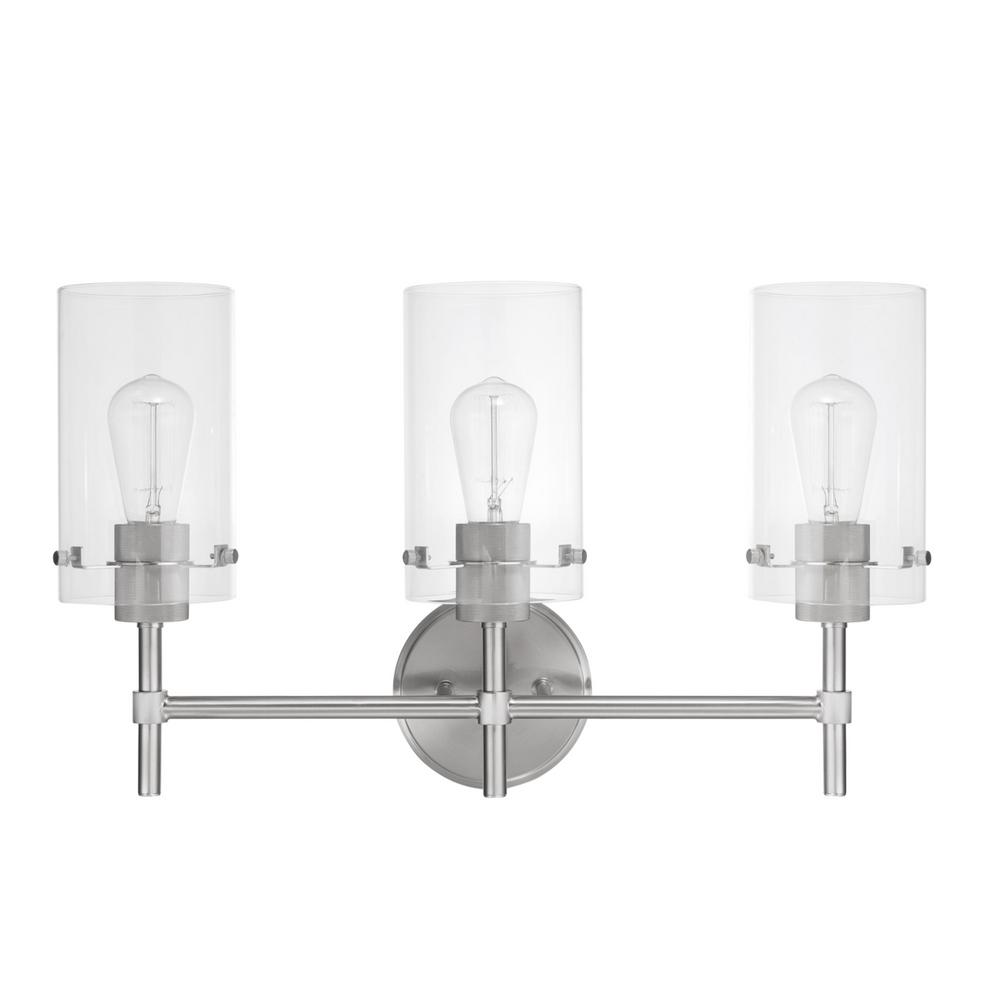 Globe Electric Cusco 3-Light Brushed Steel Vanity with Clear Glass Shades