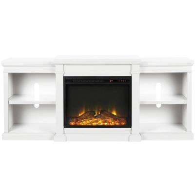 Paynes White 70 in. TV Stand with Electric Fireplace