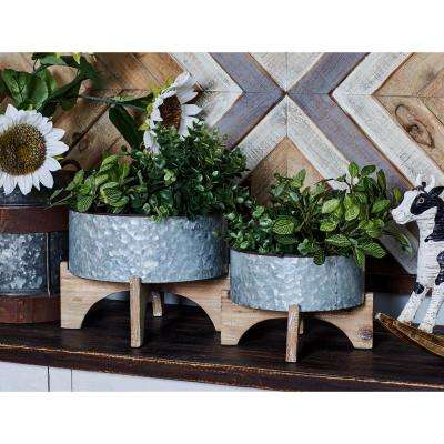 Gray Iron and Wood Planters with Brown Stands (Set of 3)
