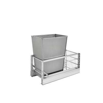 19.125 in. H x 10.75 in. W x 21.938 in. D Single 32 Qt. Pull-Out Brushed Aluminum and Stainless Steel Waste Container