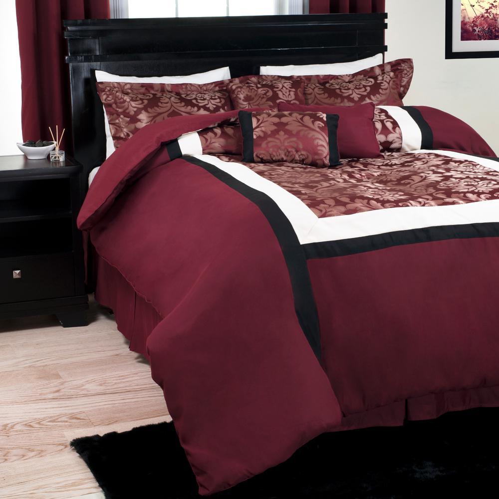 Oriental 7-Piece Maroon Queen Comforter Set