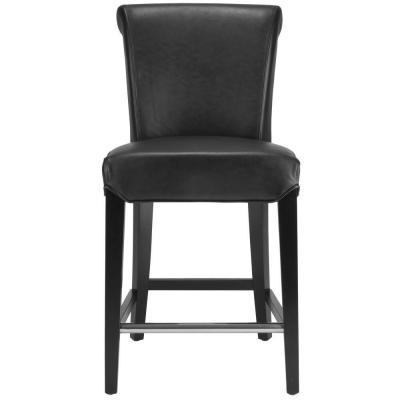 Seth 25.9 in. Black Cushioned Bar Stool