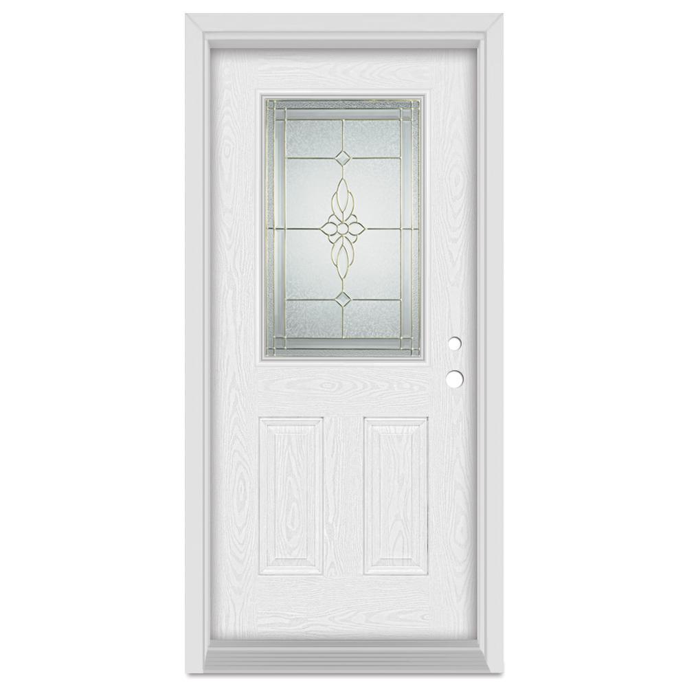 37.375 in. x 83 in. Victoria Left-Hand 1/2 Lite Brass Finished Fiberglass Oak Woodgrain Prehung Front Door Brickmould