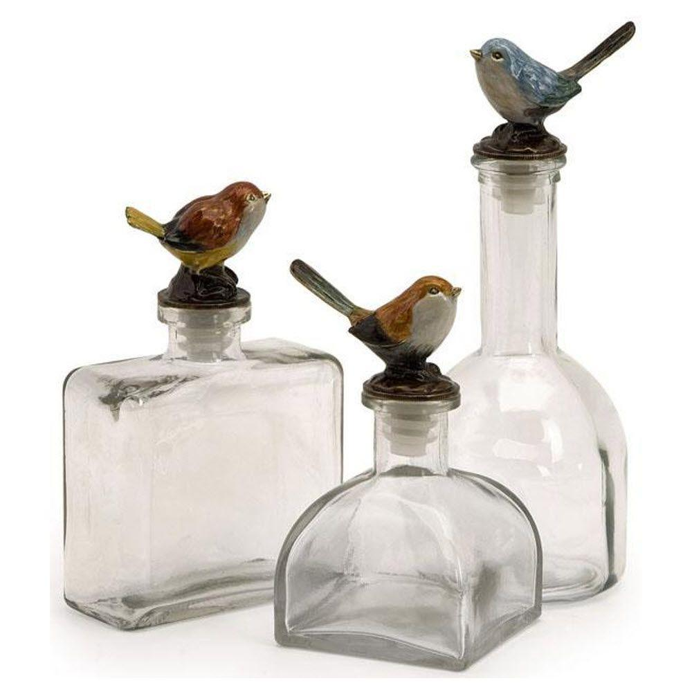 Home Decorators Collection Maco Assorted Clear Glass Decorative Bird Bottle (Set of 3)
