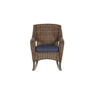 Cambridge Brown Wicker Outdoor Patio Rocking Chair with Standard Midnight Navy Blue Cushions