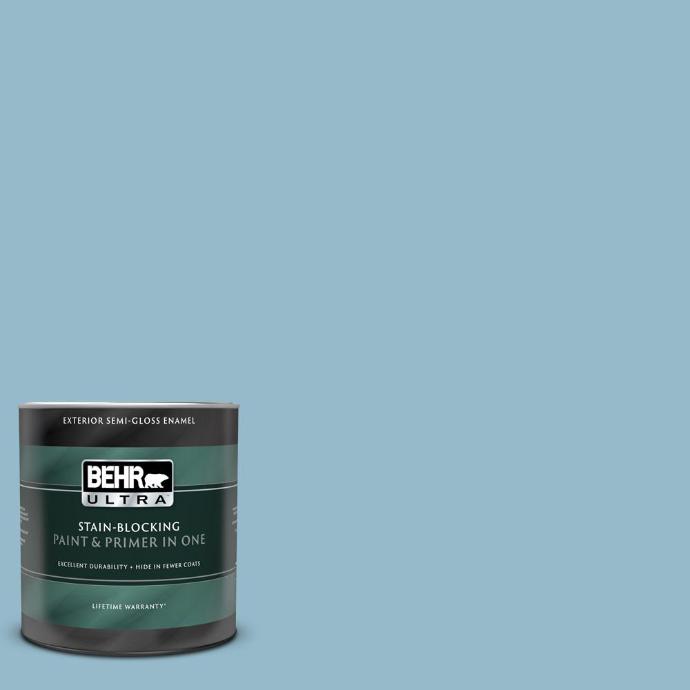 Behr Ultra 1 Qt S480 3 Sydney Harbour Semi Gloss Enamel Exterior Paint And Primer In One 585004 The Home Depot