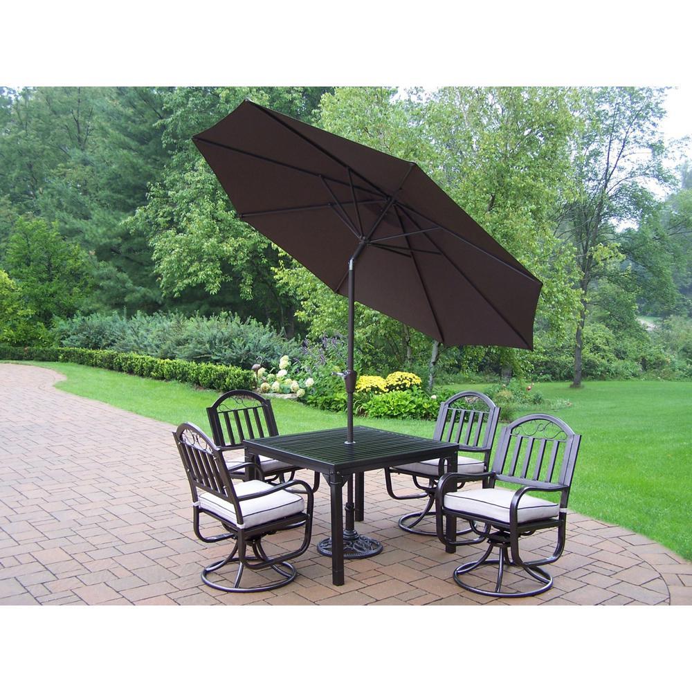 7-Piece Aluminum Outdoor Dining Set with Tan Cushions and Brown Umbrella