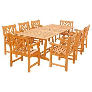 Vifah Eco-Friendly 9-Piece Wood Outdoor Dining Set with Rectangular Extension Table and Decorative Back Arm... by Vifah