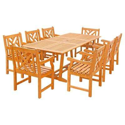 Eco-Friendly 9-Piece Wood Outdoor Dining Set with Rectangular Extension Table and Decorative Back Arm Chairs