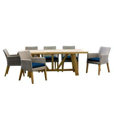 Indo 9-Piece Teak/ Wicker Rectangular Outdoor Patio Dining Set with Indigo Cushions
