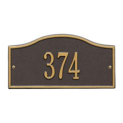 Rolling Hills Rectangular Bronze/Gold Mini Wall 1-Line Address Plaque