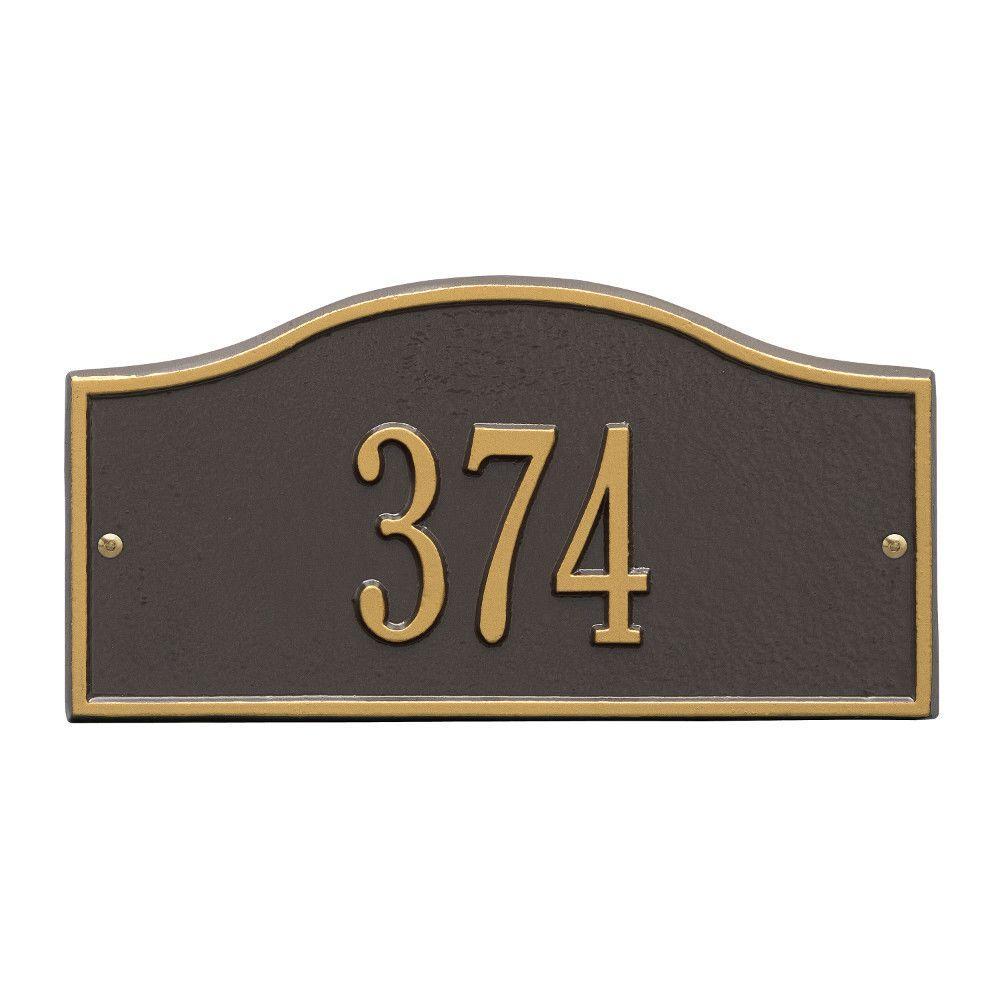 Rolling Hills Rectangular Bronze/Gold Mini Wall 1-Line Address Plaque