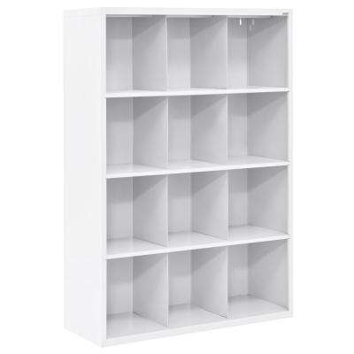 66 in. H x 46 in. W x 18 in. D White 12-Cube Cubby Organizer