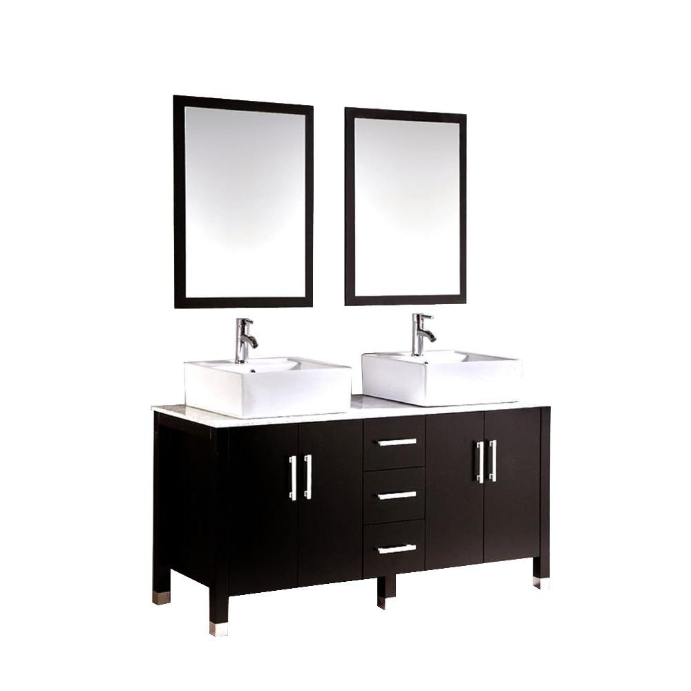 Barakiel 60 in. Double Vanity in Espresso with Marble Vanity Top
