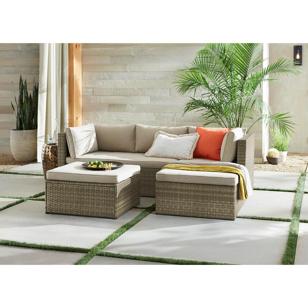 Hampton Bay Valley Peak 3-Piece All-Weather Gray Wicker Sectional Outdoor Patio Set with Beige Cushions