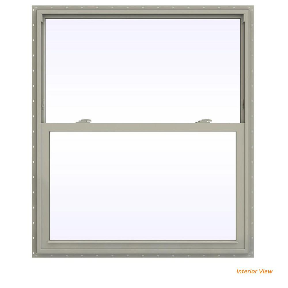 41.5 in. x 41.5 in. V-2500 Series Desert Sand Vinyl Single Hung Window with Fiberglass Mesh Screen