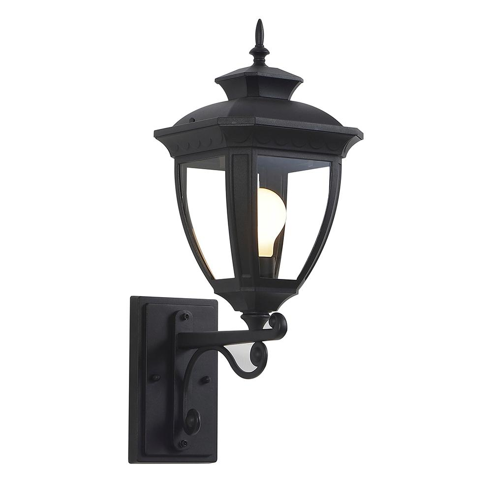 Ove decors alice 1 light black outdoor integrated led wall mount sconce alicec the home depot for Black exterior sconce