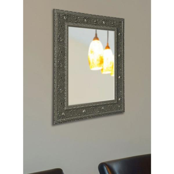 38 in. x 26 in. Opulent Silver Non Beveled Vanity Wall