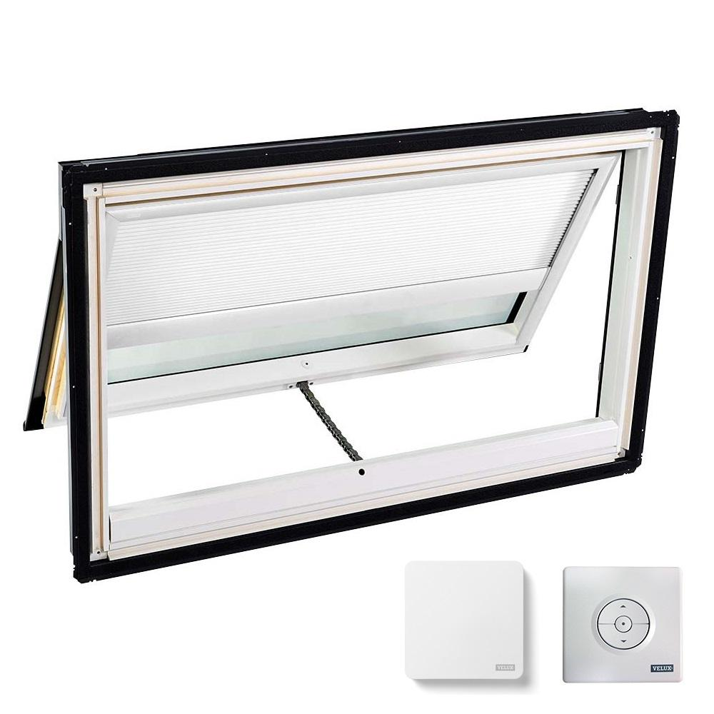 VELUX 44-1/4 in. x 26-7/8 in. Venting Deck-Mount Skylight w/ Laminated Low-E3 Glass, White Solar Powered Room Darkening Blind