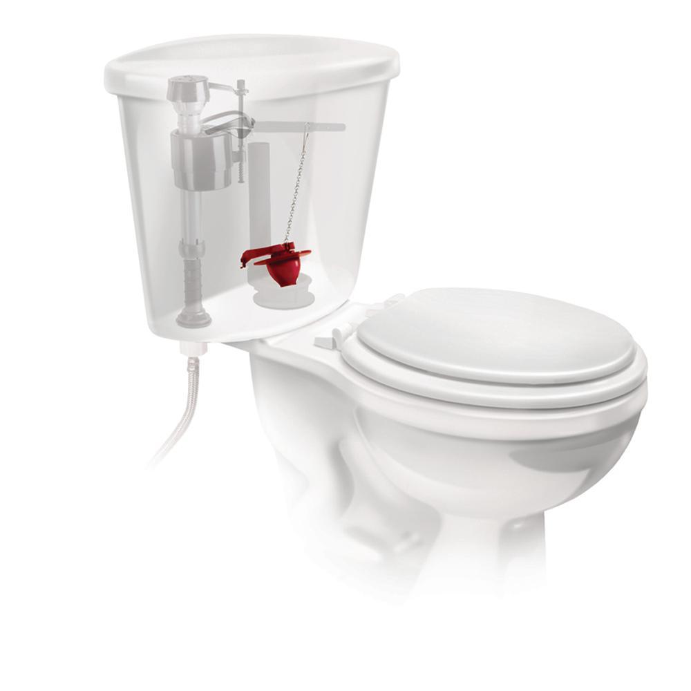 Fijaciones incluidas V/álvula de descarga totalmente ajustable en altura y con bot/ón cromado Paquete de cisterna universal Fluidmaster PROCP002