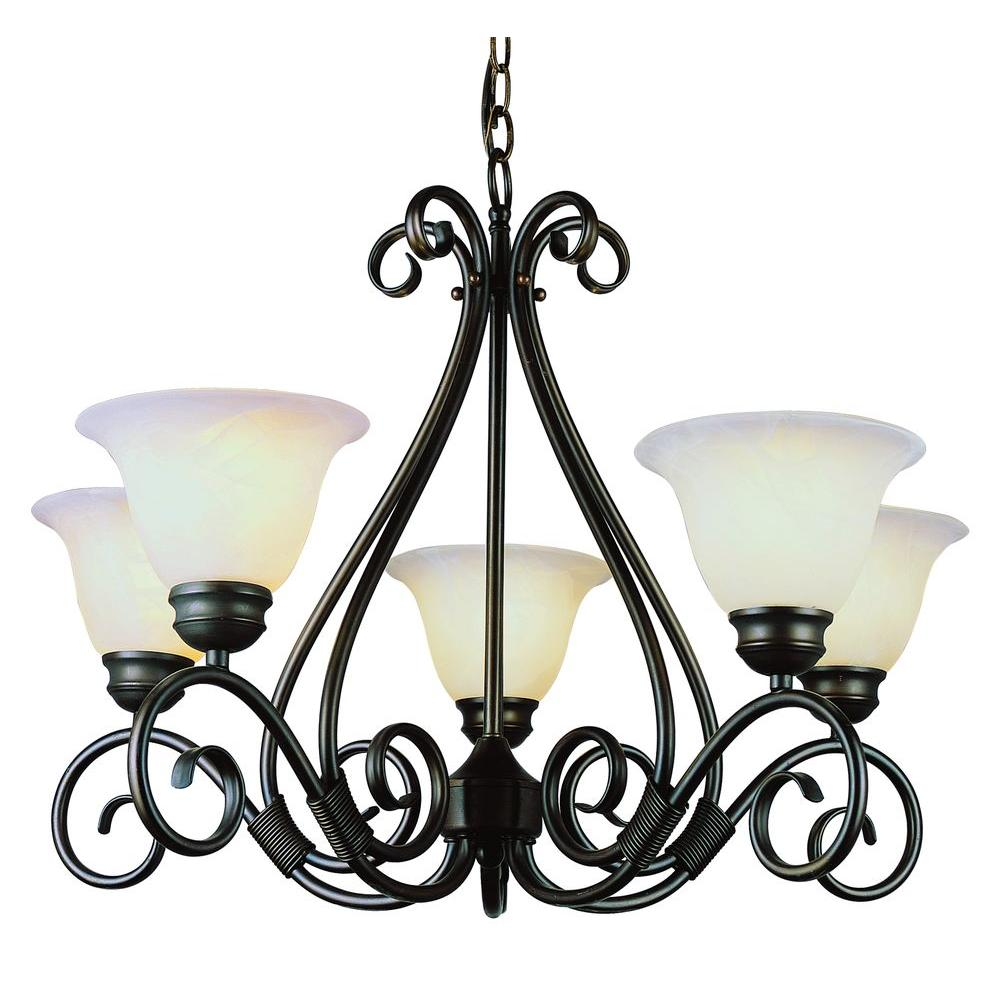 Stewart 5-Light Rubbed Oil Bronze Chandelier with Marbleized Glass Shades