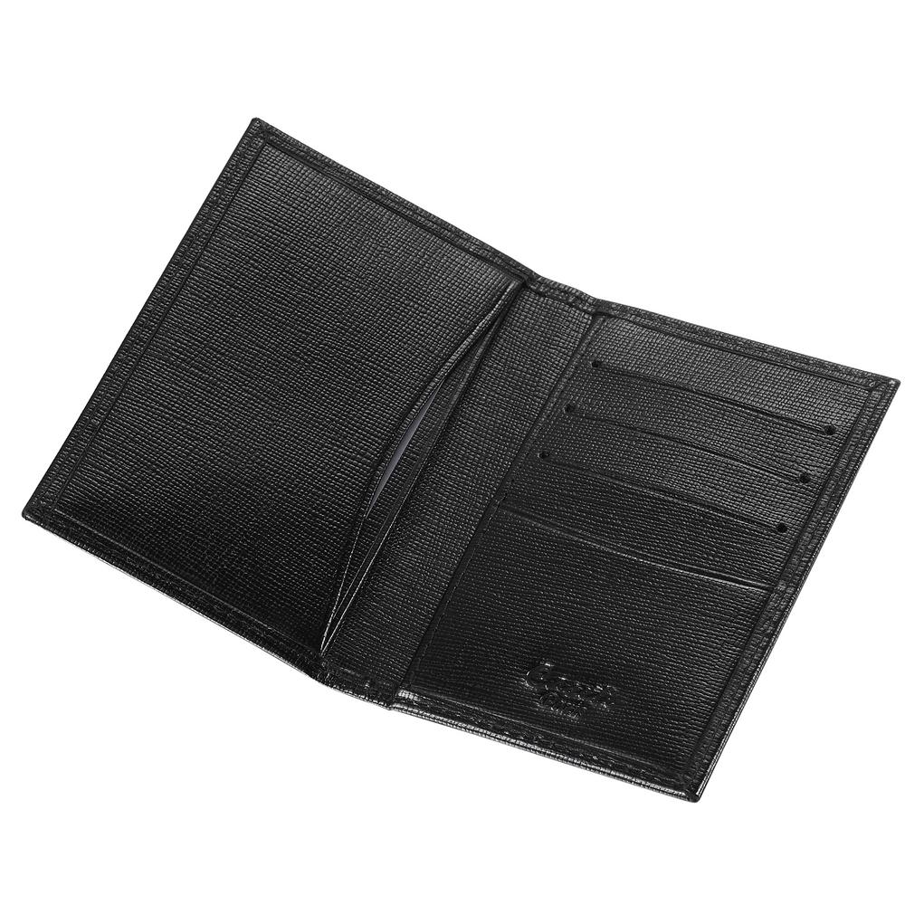 visol caseti thin leather business card holder in black - Leather Business Card Holder