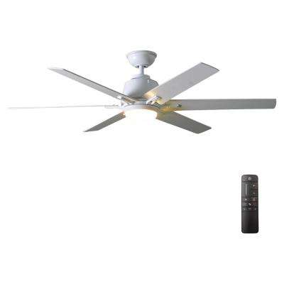 Kensgrove 54 in. Integrated LED Indoor White Ceiling Fan with Light Kit and Remote Control