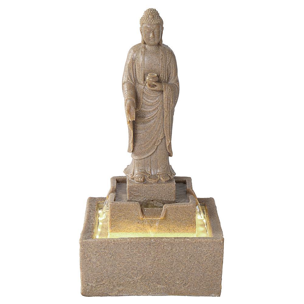 Earth Witness Buddha Medium Stone Bonded Resin Illuminated Garden Fountain