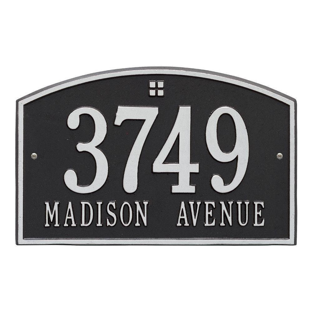 Cape Charles Standard Rectangular Black/Silver Wall 2-Line Address Plaque