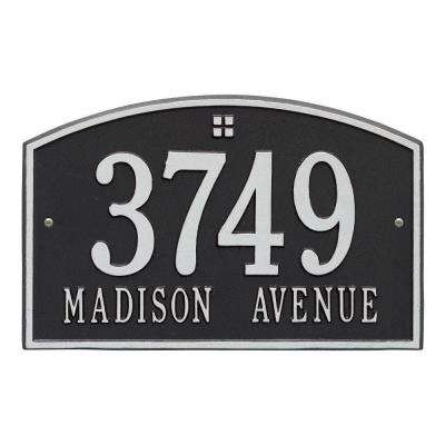 Cape Charles Standard Rectangular Black/Silver Wall 2-Line Address Plaque