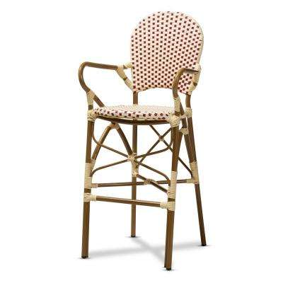 Marguerite 47 in. Beige and Red Bar Stool