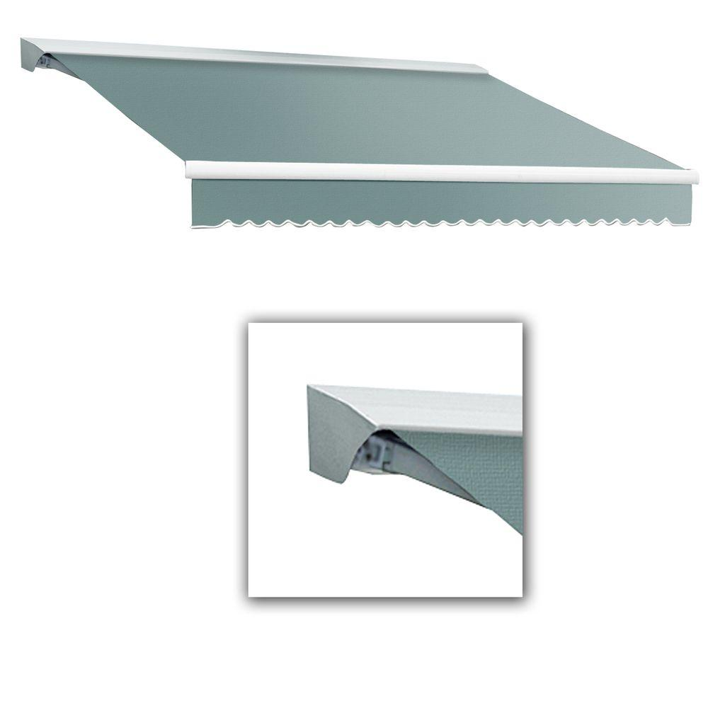 AWNTECH 10 ft. LX-Destin Hood Right Motor with Remote Retractable Acrylic Awning (96 in. Projection) in Sage