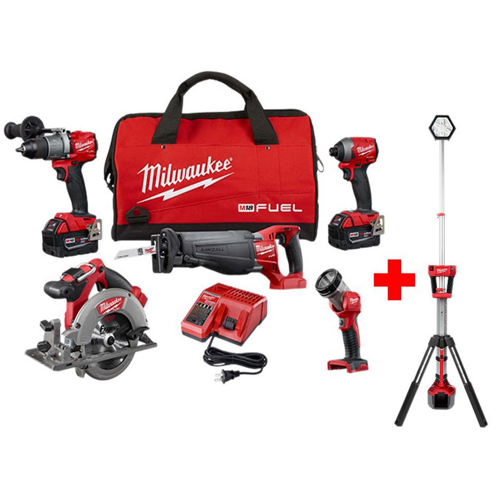 Milwaukee M18 FUEL 18-Volt Lithium-Ion Brushless Cordless Combo Kit (5-Tool) with M18 Rocket Dual Power Tower Light