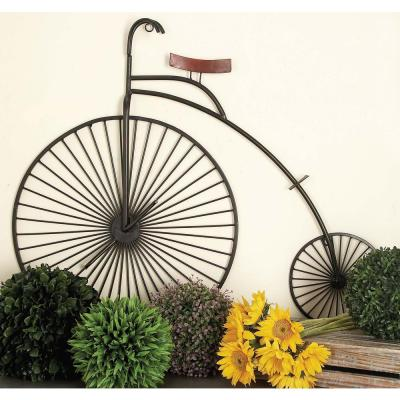 39 in. 34 in. Vintage Black Iron Penny Farthing Bicycle Wall Decor