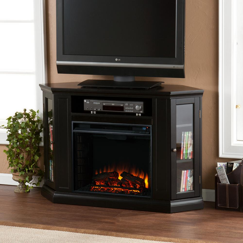 Hudson 48 in. W Convertible Media Electric Fireplace in Black