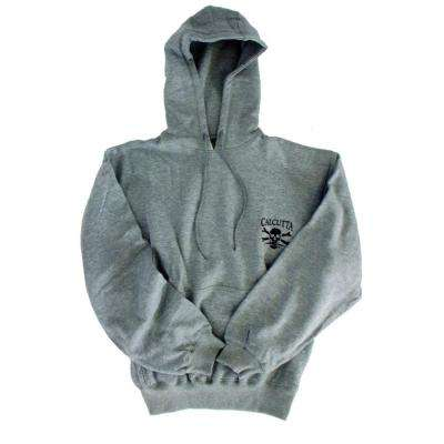 Men's Double Extra Large Two Pocket Hooded Pull Over Sweatshirt in Grey