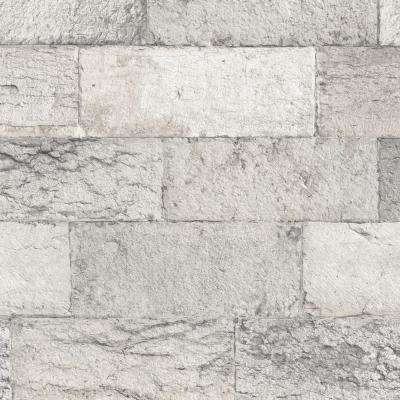 Shades of Grey Faux Organic Stone Wallpaper