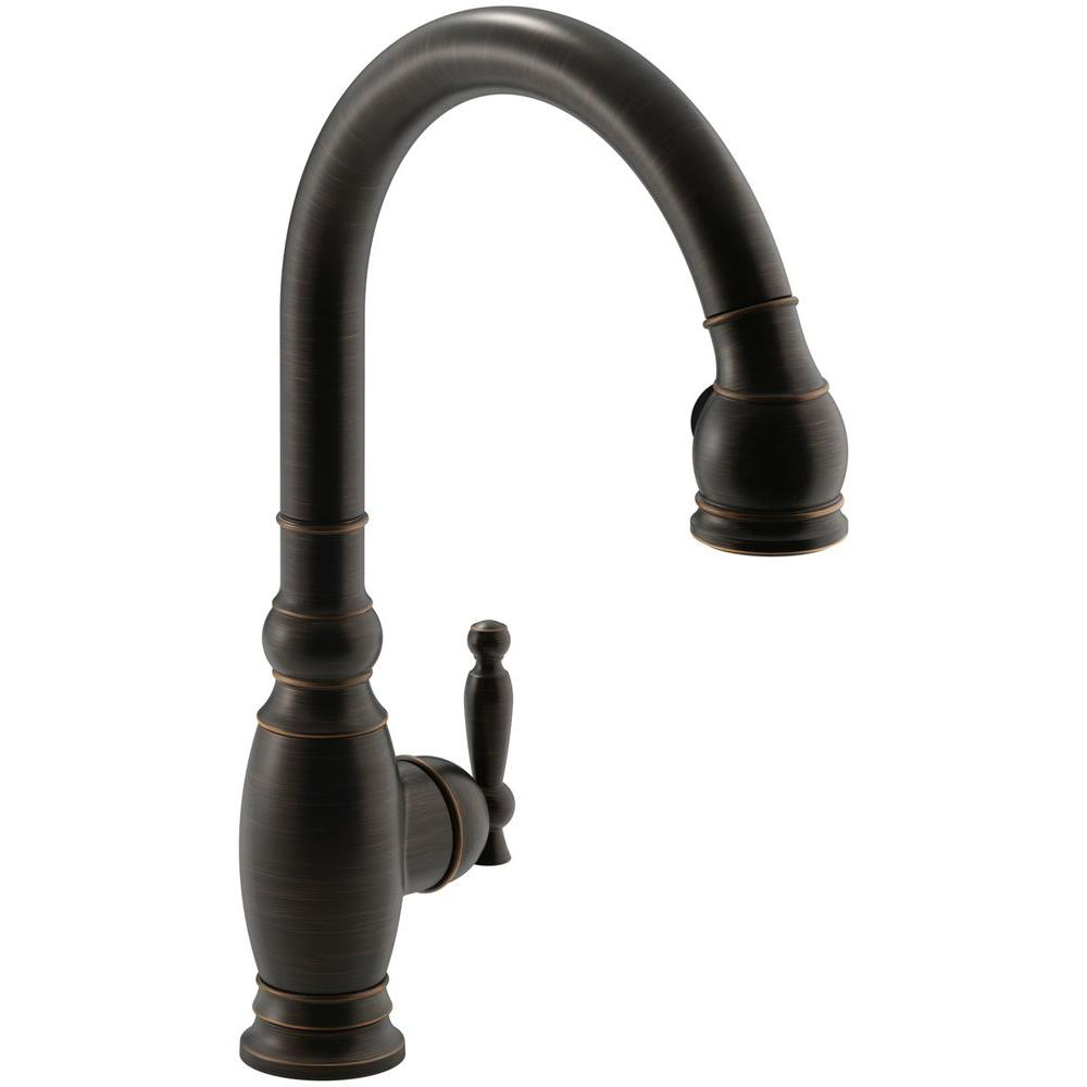 KOHLER Vinnata Single-Handle Pull-Down Sprayer Kitchen Faucet in Oil-Rubbed Bronze
