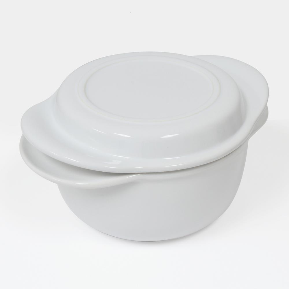 Make and Take 1.75 Qt. Glossy White Round Ceramic Casserole Dish