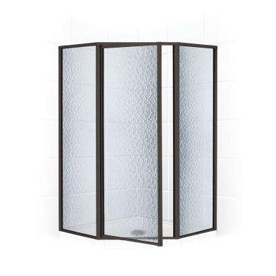Legend Series 57 in. x 70 in. Framed Neo-Angle Shower Door in Black Bronze and Obscure Glass