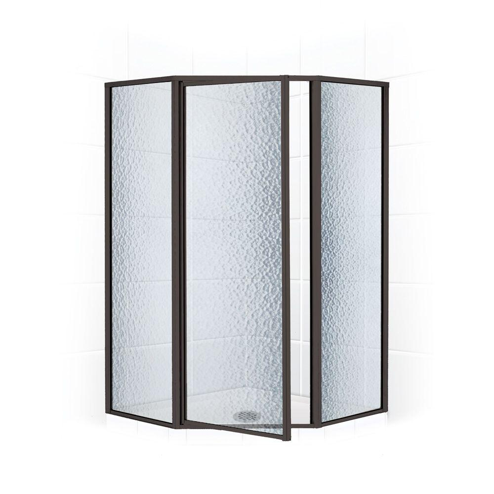 Coastal Shower Doors Legend Series 59 in. x 70 in. Framed Neo-Angle Swing Shower Door in Oil Rubbed Bronze and Obscure Glass