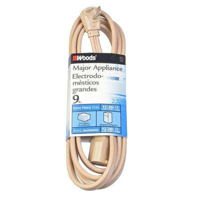 9 ft. 12-Gauge 20 Amp Extra Heavy Duty Major Appliance Cord, Beige
