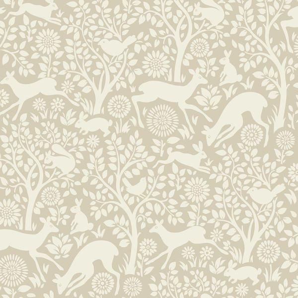 Anahi Neutral Forest Fauna Wallpaper